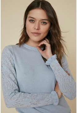 Pale blue Long Sleeve Knit Lace Jumper