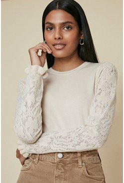 Peach Long Sleeve Knit Lace Jumper