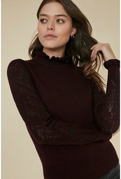 Berry Knit Lace Frill Neck Jumper