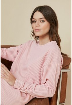 Pink Cable Ruched Sleeve Top