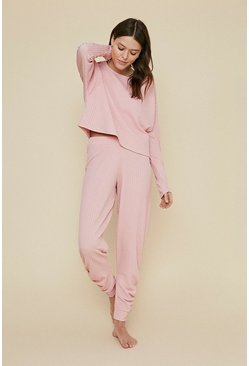 Pink Cable Ruched Jogger