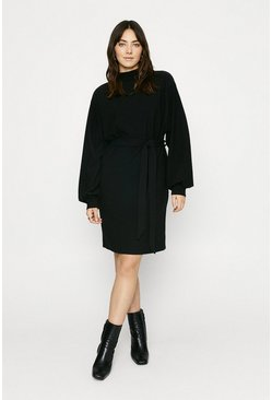 Black Textured Belted Dress