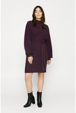 Wine Textured Belted Dress