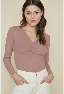 Pink V Neck Gathered Rib Top