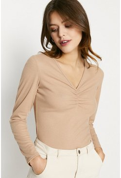 Sand V Neck Gathered Rib Top