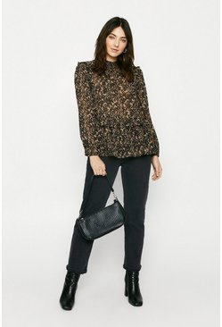 Brown Animal Shirred Neck Blouse