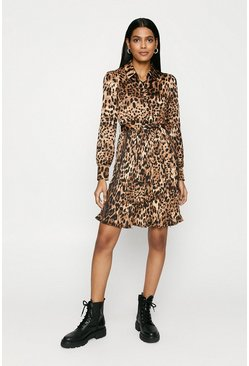 Brown Animal Pleated Shirt Dress