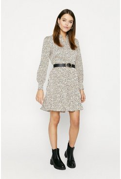 Ivory Spot Pleated Shirt Dress