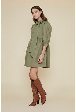 Khaki Bow Detail Smock Dress
