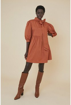 Rust Bow Detail Smock Dress