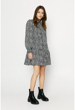 Grey Ditsy Collared Smock Dress
