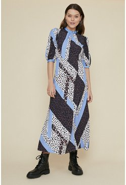 Multi Mixed Animal Midi Dress
