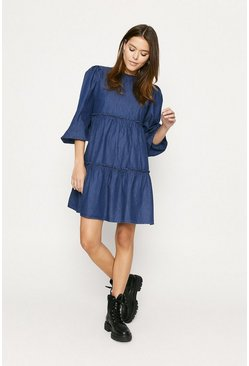 Dark blue Denim Frill Smock Dress