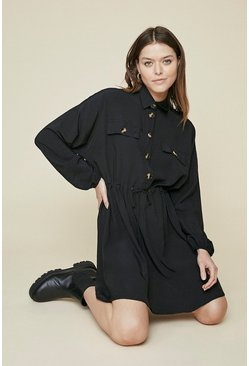 Black Button Drawstring Dress