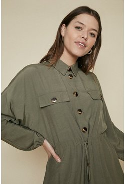 Khaki Button Drawstring Dress