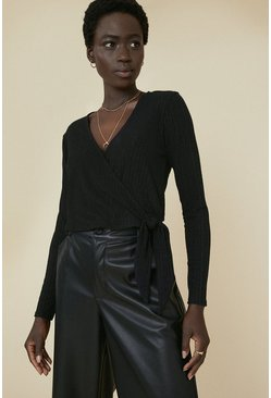 Black Rib Wrap Top