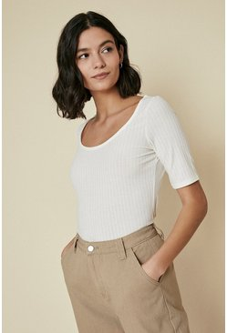 Cream Rib Scoop Neck Top