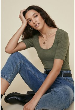 Khaki Rib Scoop Neck Top