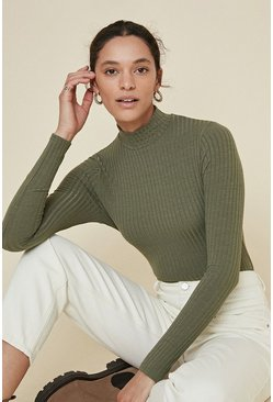 Khaki Rib High Neck Top