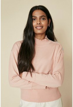 Pink Star Embellished Button High Neck Jumper