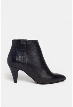 Black Heeled Leather Croc Ankle Boot