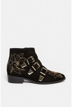 Black Floral Studded Suede Buckle Ankle Boot