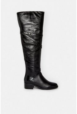 Black Long Flat Leather Riding Buckle Boot