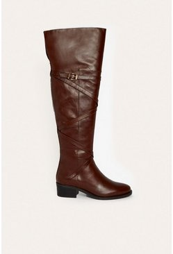 Tan Long Flat Leather Riding Buckle Boot