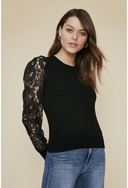 Black Lace Sleeve Jumper
