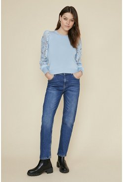 Blue Lace Sleeve Jumper