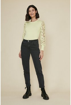 Yellow Lace Sleeve Jumper