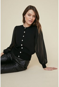 Black Pretty Button Cardigan