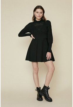 Black Pointelle Puff Sleeve Dress