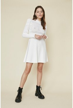 Ivory Pointelle Puff Sleeve Dress