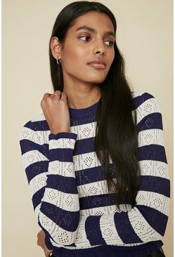 Navy Striped Knit Top
