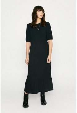Black Rib Smocked Midi Dress
