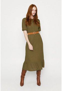 Khaki Rib Smocked Midi Dress