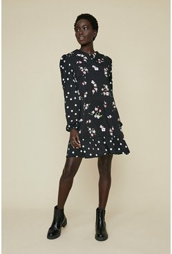 Black Collar Printed Shift Dress