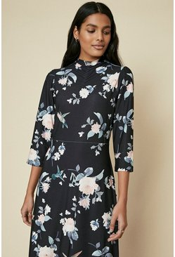 Black High Neck Printed Midi Dress