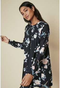 Black Shirred Yoke Printed Dress