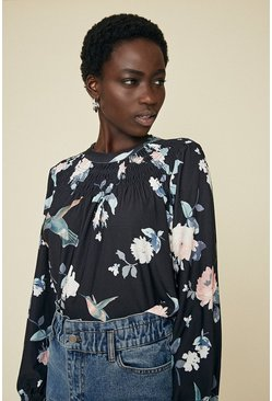 Black Shirred Yoke Printed Top