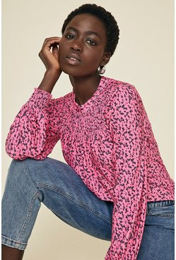Pink Shirred Yoke Printed Top