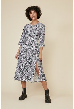 Multi Shoulder Detail Floral Printed Midi Dress