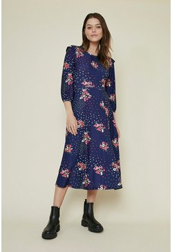 Navy Shoulder Detail Floral Printed Midi Dress
