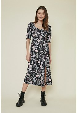 Multi Sweetheart Shirred Cuff Floral Printed Midi