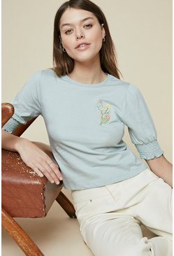 Blue Embroidered Puff Sleeve Top