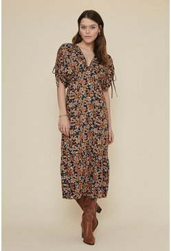 Multi Floral Tie Shoulder Midi Dress