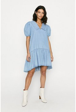 Denim Collar Smock Dress