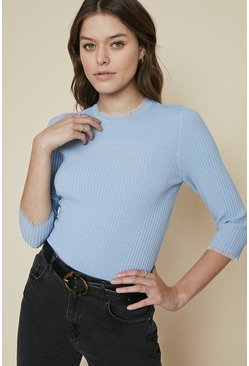 Blue Frill Trim Ribbed Top