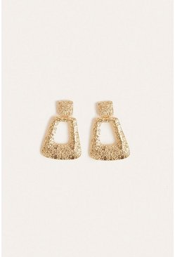 Gold Textured Statement Earring
